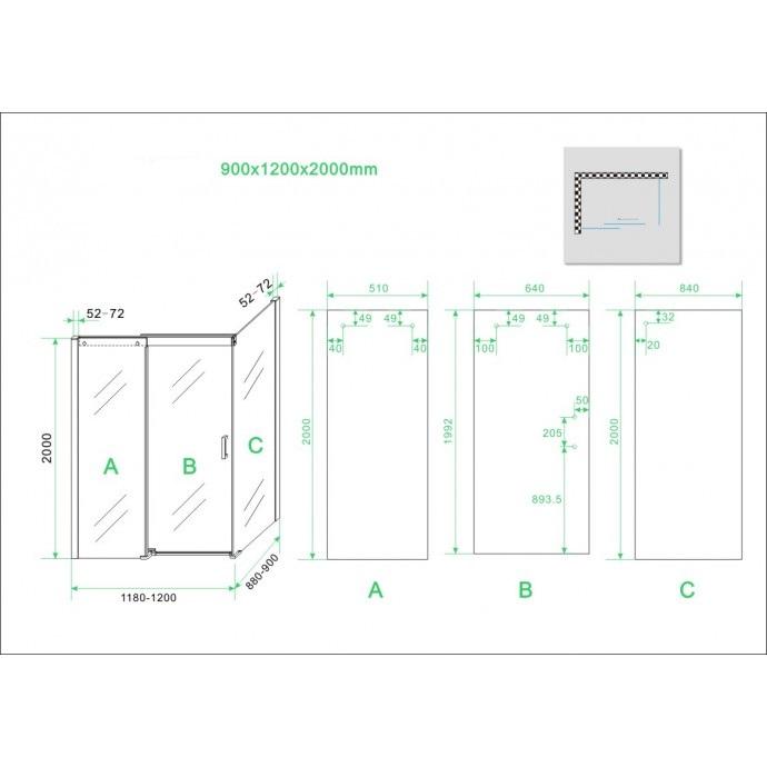 Technische tekening softclose douchedeur