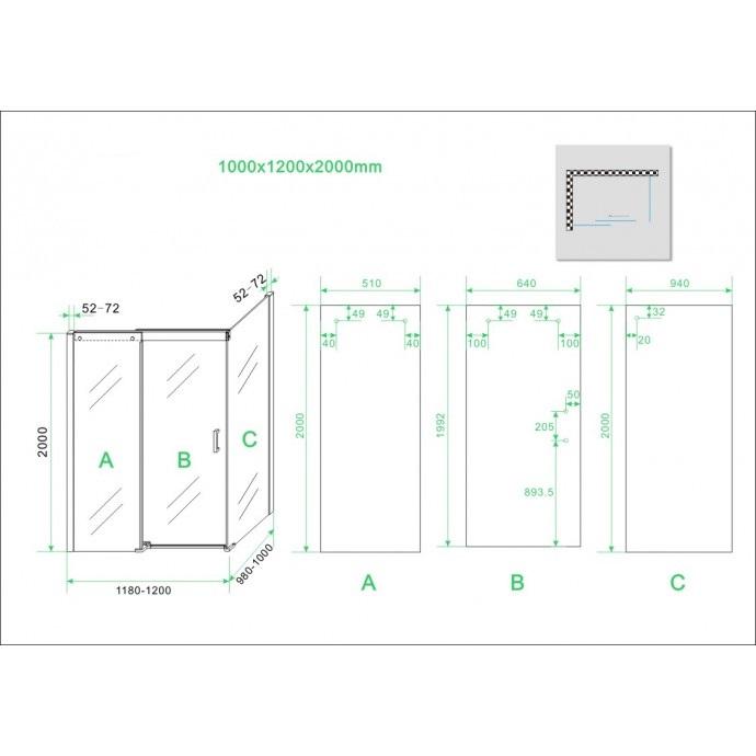 technische tekening van de softclose douchedeur 120 cm