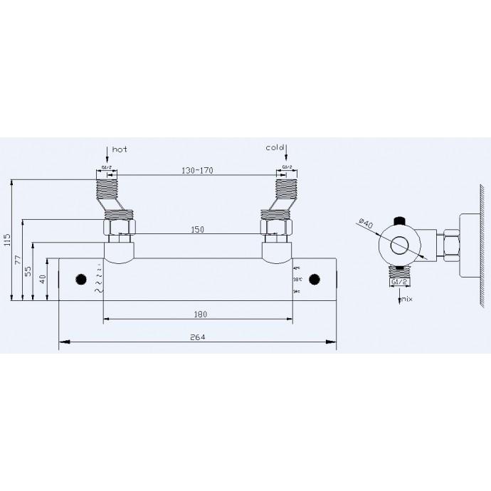 Technische tekening voor de thermostaatkraan