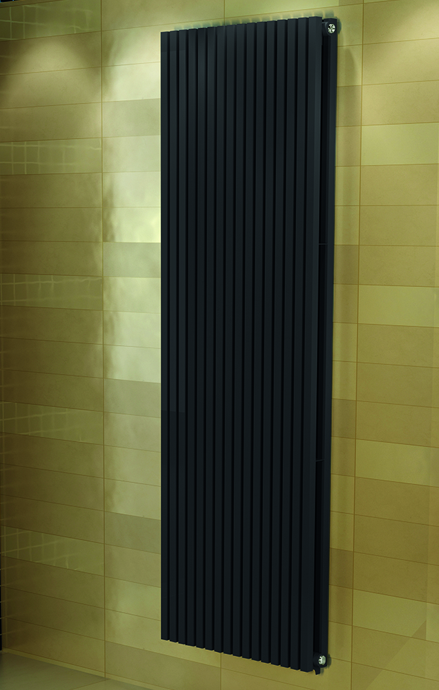 Badkamer designradiator in de kleur antraciet