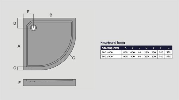 Technische tekening smc douchebak kwartrond hoog model