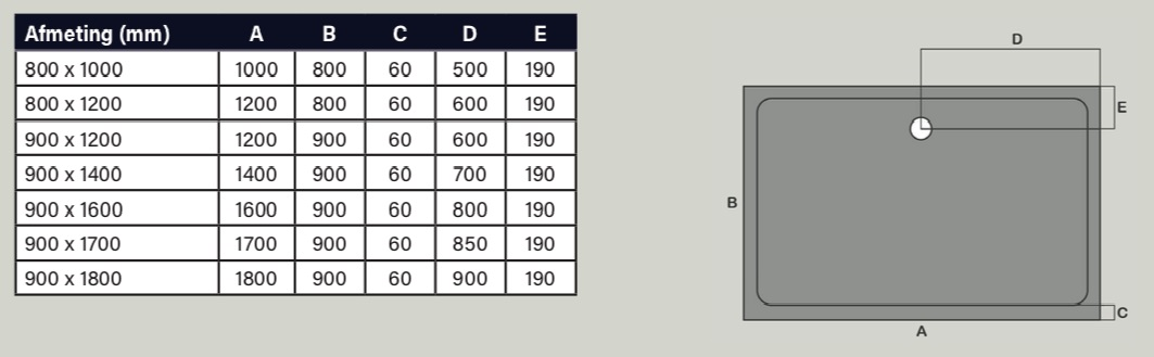 Technische tekening rechthoek model douchebak