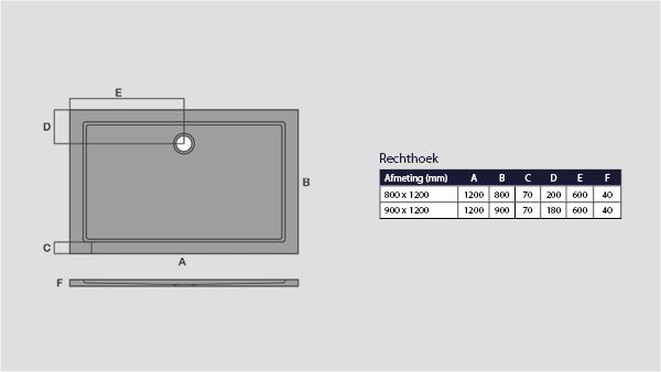 Technische tekening van de rechthoek smc douchebak laag model