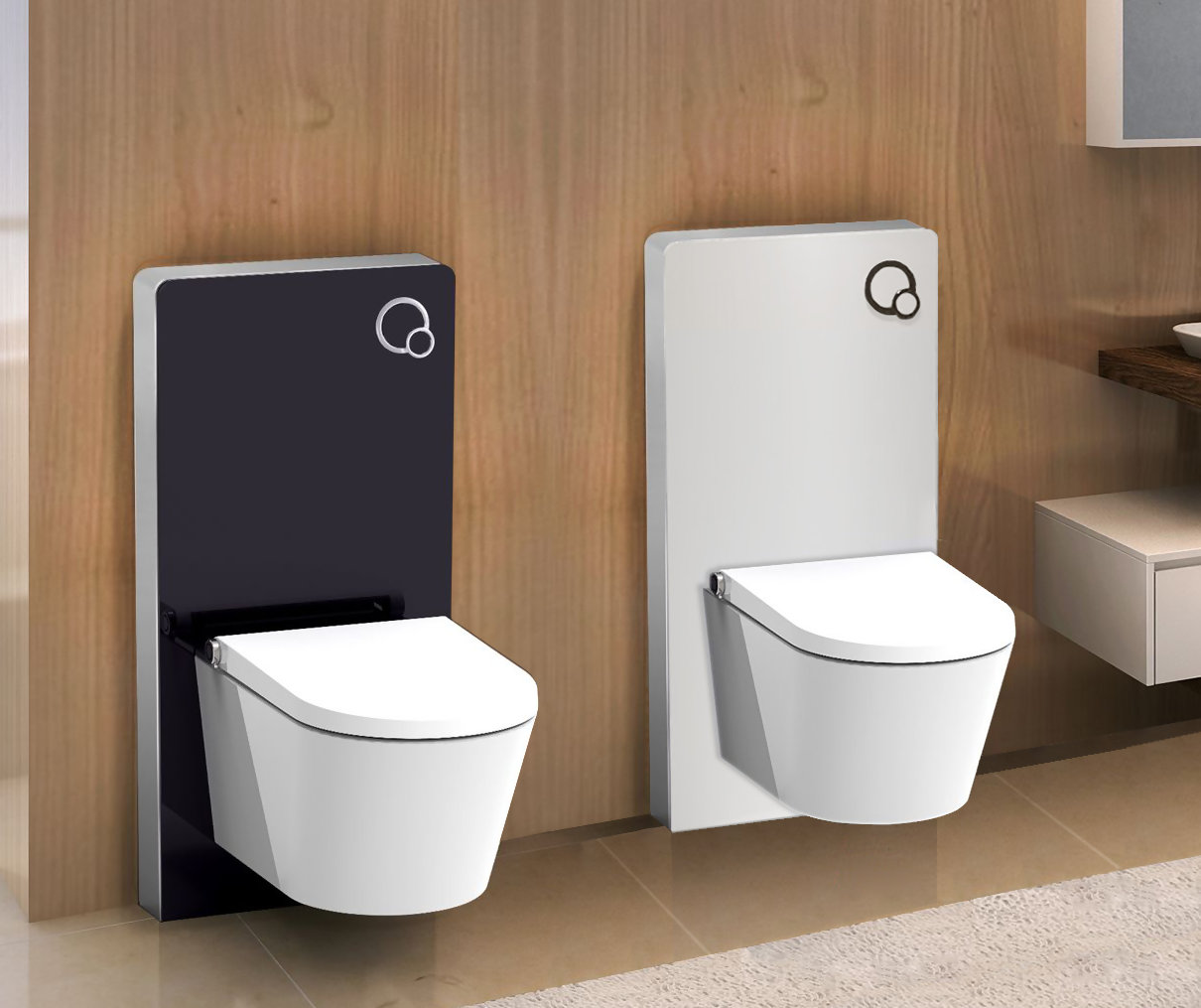 Vrij hangend toilet module