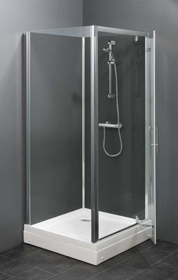 Trento basic BG vierkante rondom gesloten douchecabine met een draaideur leverbaar in 80x80 cm of 90x90 cm