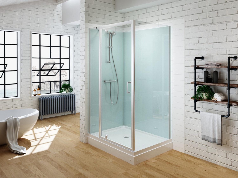 gesloten douchecabine met een draaideur