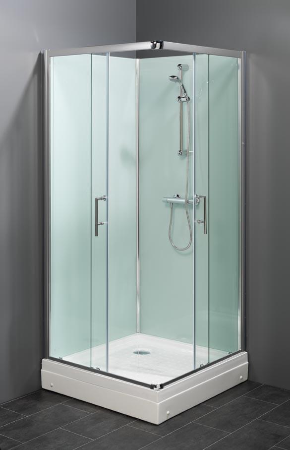Trento basic LW Vierkant model rondom gesloten douchecabine met niet doorzichtige achterwanden