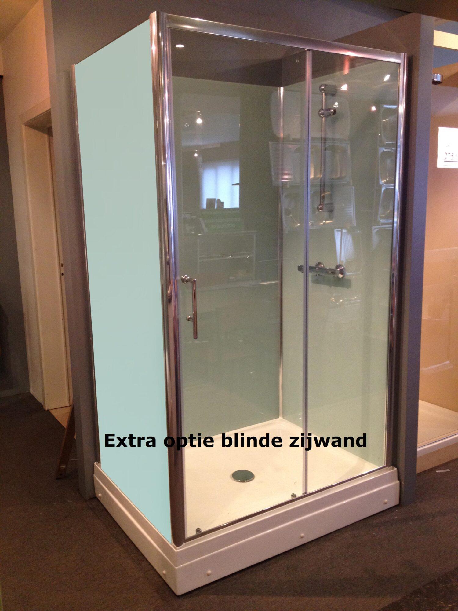 Rondom gesloten douchecabine recthoek met 3 blinde zijwanden