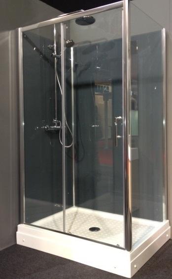 rechthoekige rondom gesloten douchecabine met een schuifdeur aan de voorzijde