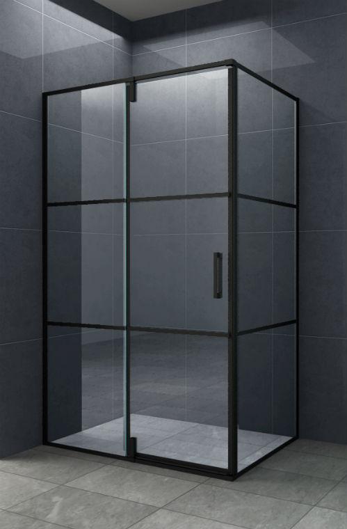 Mat zwarte rechthoekige douchecabine met een draaideur