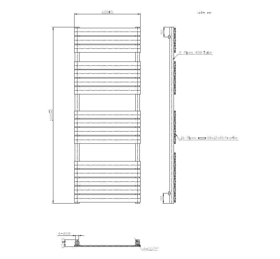 Afmetingen van badkamer designradiator