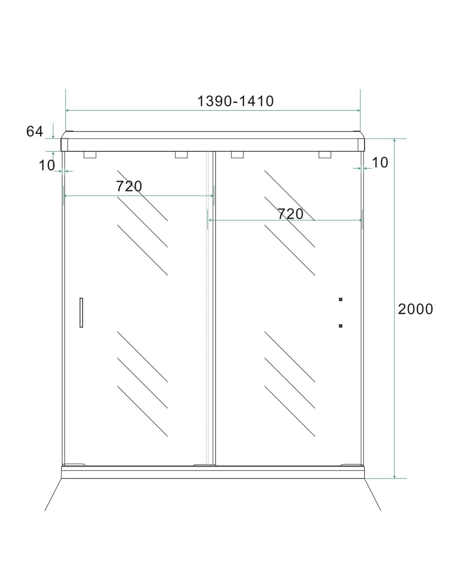 Technische tekening van de dubbele nis schuifdeuren