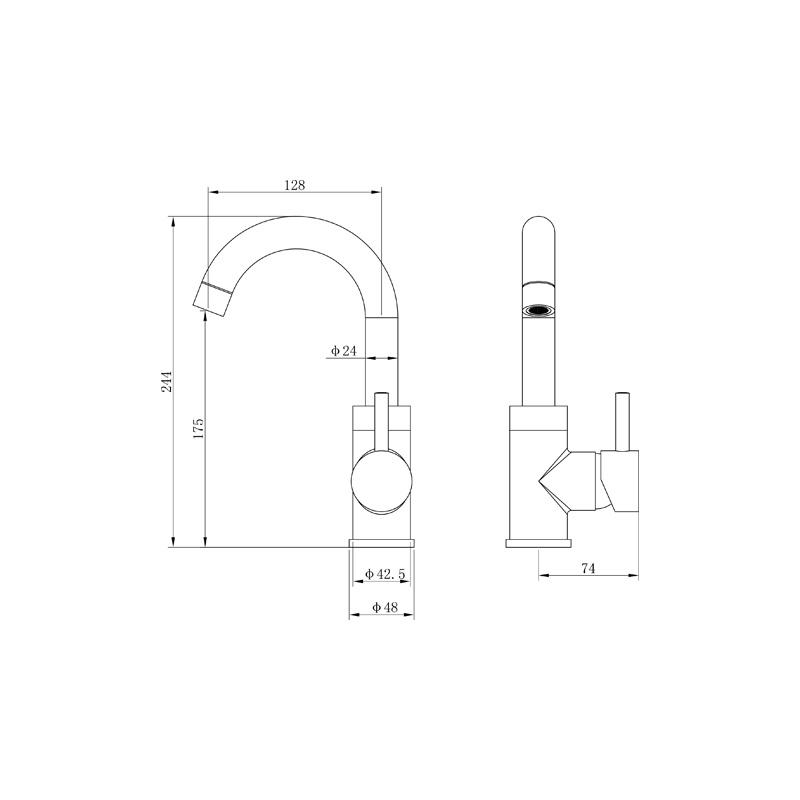 Wastafelkraan gun metal schematisch